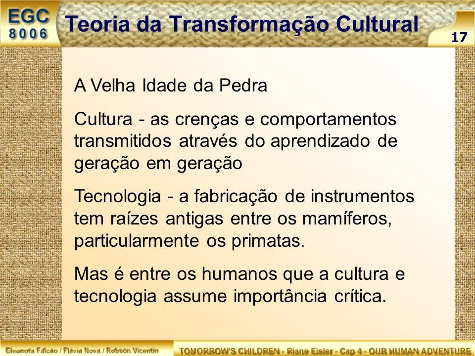 A Velha Idade da Pedra Cultura - as crenças e comportamentos transmitidos através do aprendizado de geração em geração Tecnologia - a fabricação de in