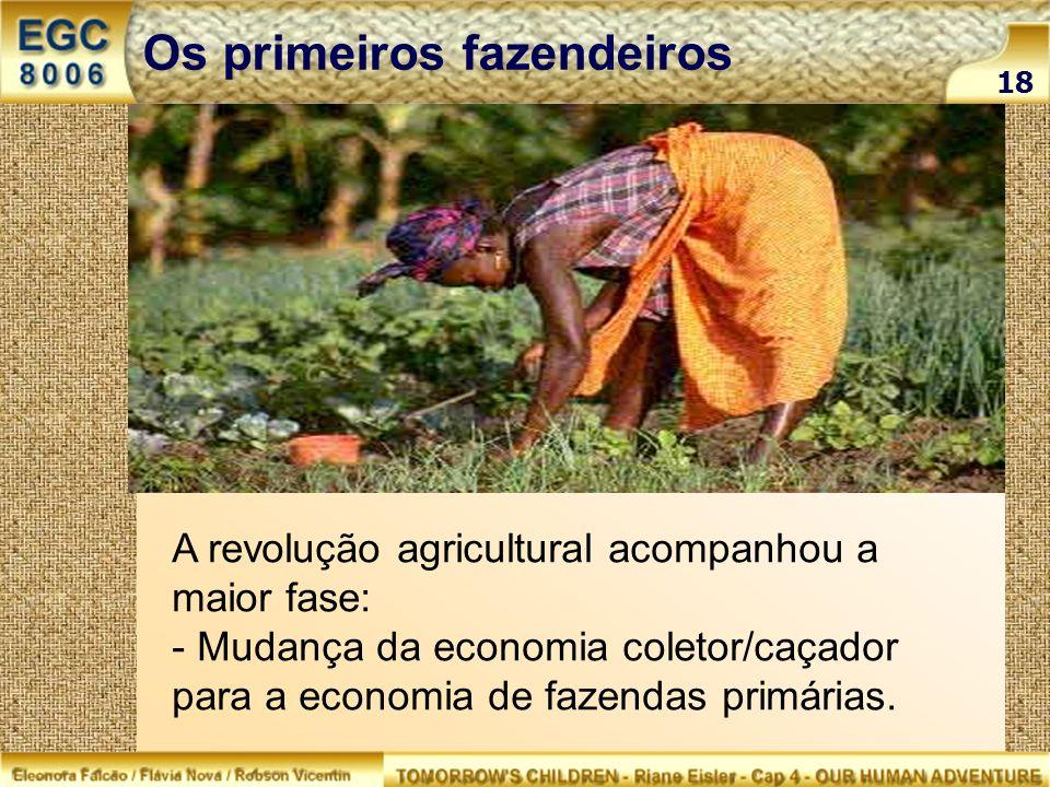 A revolução agricultural acompanhou a maior fase: - Mudança da economia coletor/caçador para a economia de fazendas primárias. 18 Os primeiros fazende
