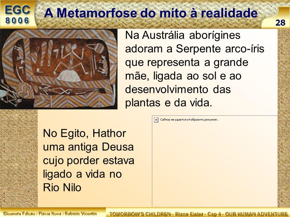 28 A Metamorfose do mito à realidade Na Austrália aborígines adoram a Serpente arco-íris que representa a grande mãe, ligada ao sol e ao desenvolvimen
