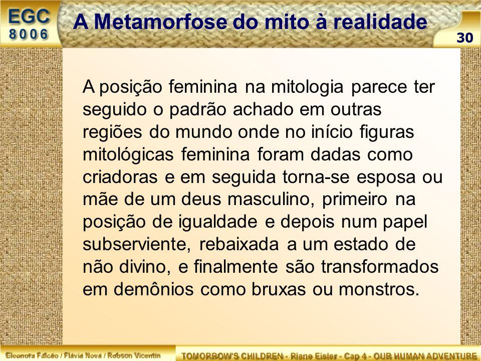 30 A Metamorfose do mito à realidade A posição feminina na mitologia parece ter seguido o padrão achado em outras regiões do mundo onde no início figu