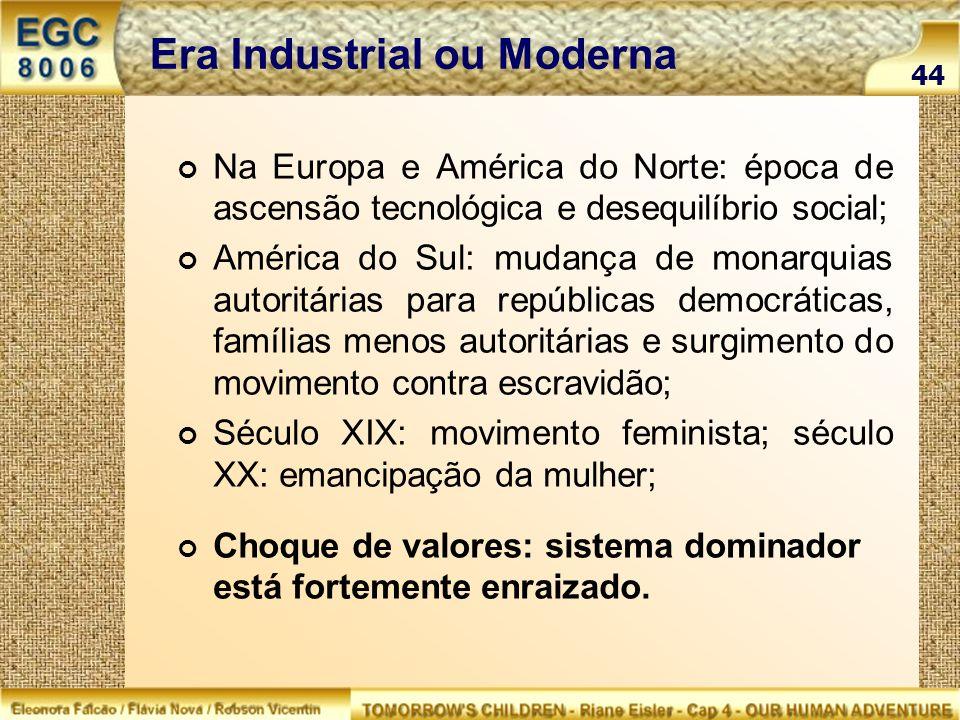Era Industrial ou Moderna Na Europa e América do Norte: época de ascensão tecnológica e desequilíbrio social; América do Sul: mudança de monarquias au