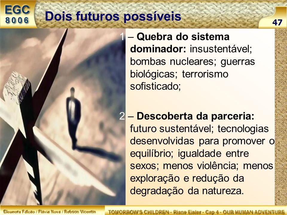 Dois futuros possíveis 1 – Quebra do sistema dominador: insustentável; bombas nucleares; guerras biológicas; terrorismo sofisticado; 2 – Descoberta da