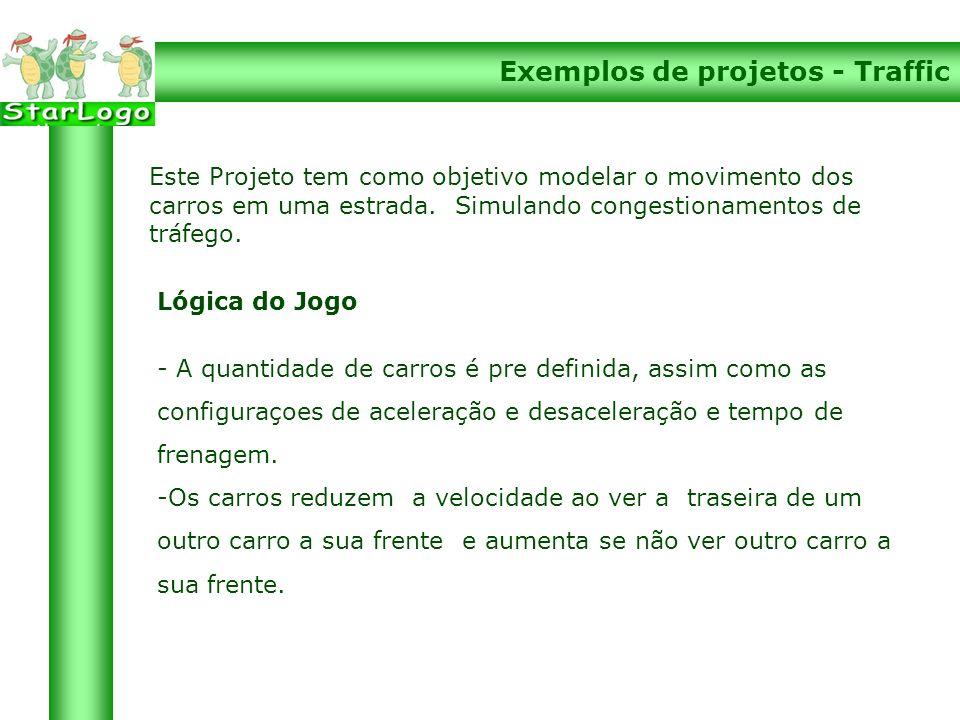 Exemplos de projetos - Traffic Lógica do Jogo - A quantidade de carros é pre definida, assim como as configuraçoes de aceleração e desaceleração e tempo de frenagem.