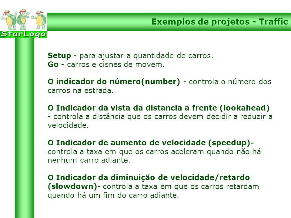 Exemplos de projetos - Traffic Setup - para ajustar a quantidade de carros.