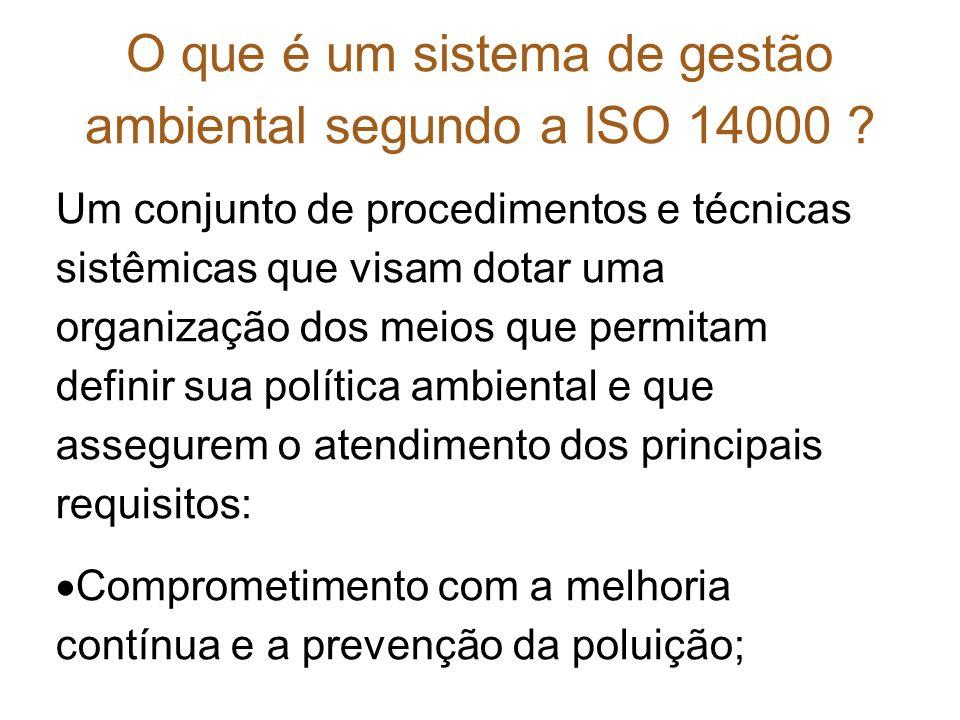 O que é um sistema de gestão ambiental segundo a ISO 14000 ? Um conjunto de procedimentos e técnicas sistêmicas que visam dotar uma organização dos me