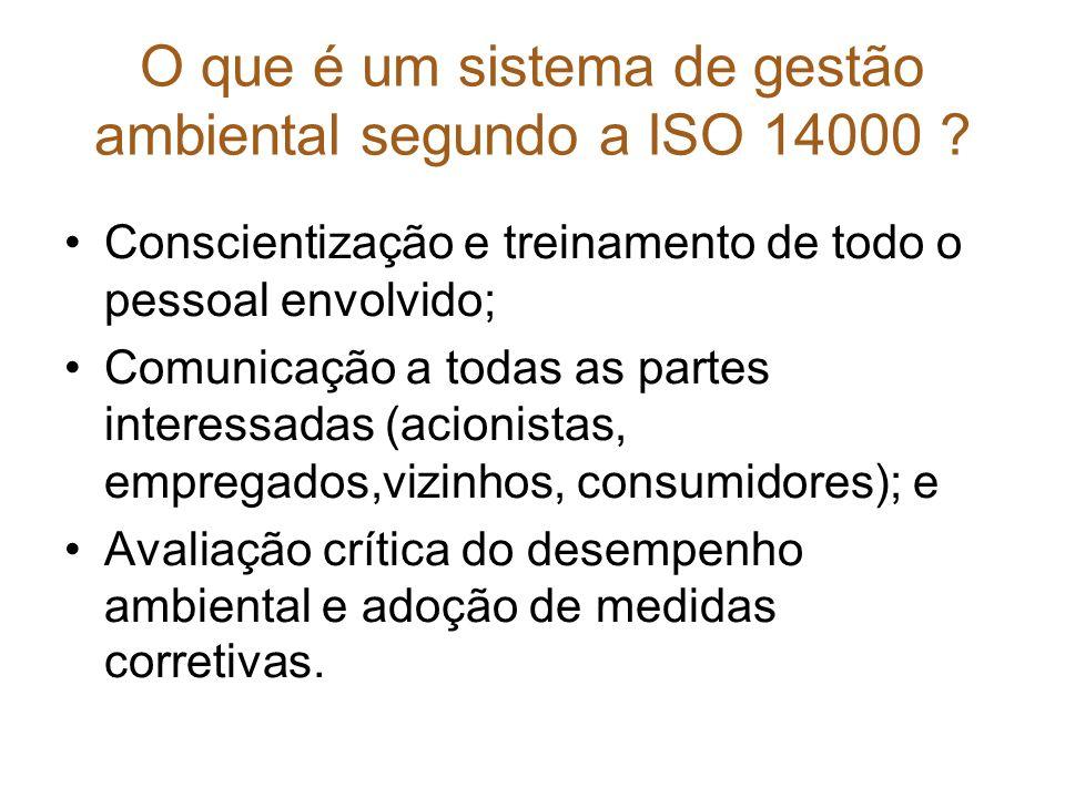 O que é um sistema de gestão ambiental segundo a ISO 14000 ? Conscientização e treinamento de todo o pessoal envolvido; Comunicação a todas as partes