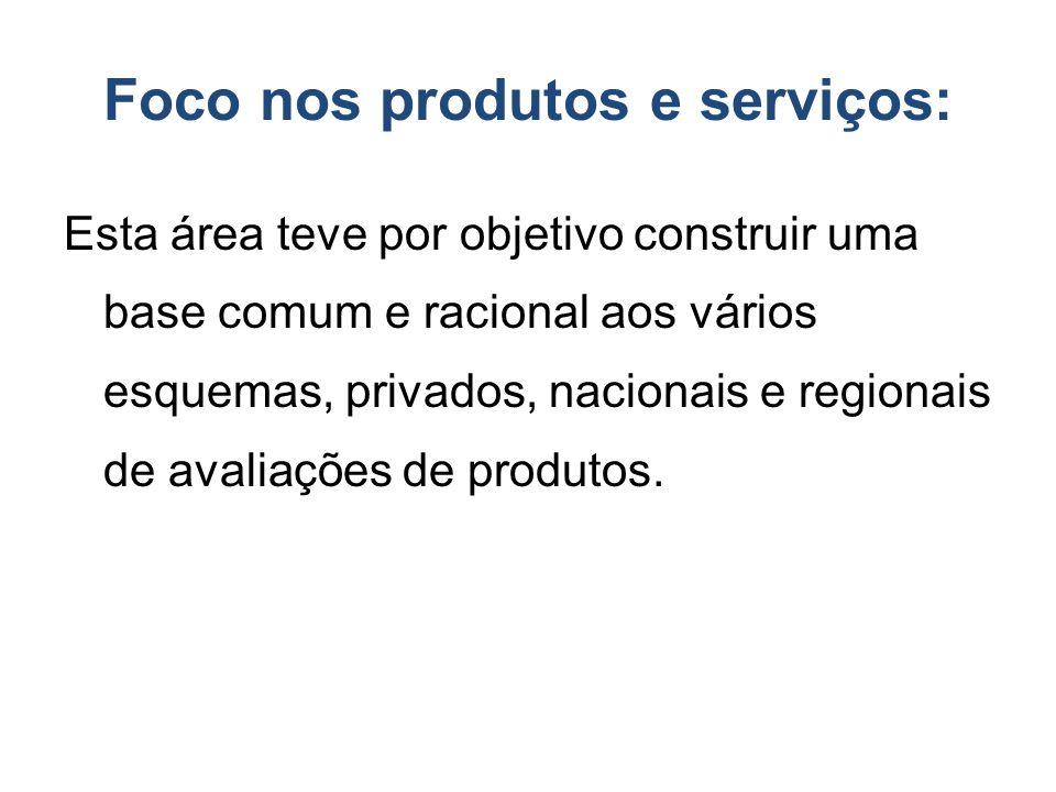 Foco nos produtos e serviços: Esta área teve por objetivo construir uma base comum e racional aos vários esquemas, privados, nacionais e regionais de