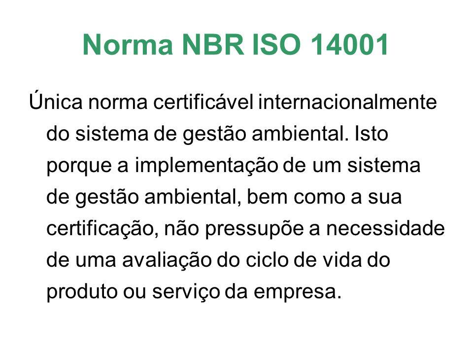 Norma NBR ISO 14001 Única norma certificável internacionalmente do sistema de gestão ambiental. Isto porque a implementação de um sistema de gestão am