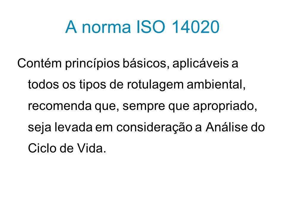 A norma ISO 14020 Contém princípios básicos, aplicáveis a todos os tipos de rotulagem ambiental, recomenda que, sempre que apropriado, seja levada em