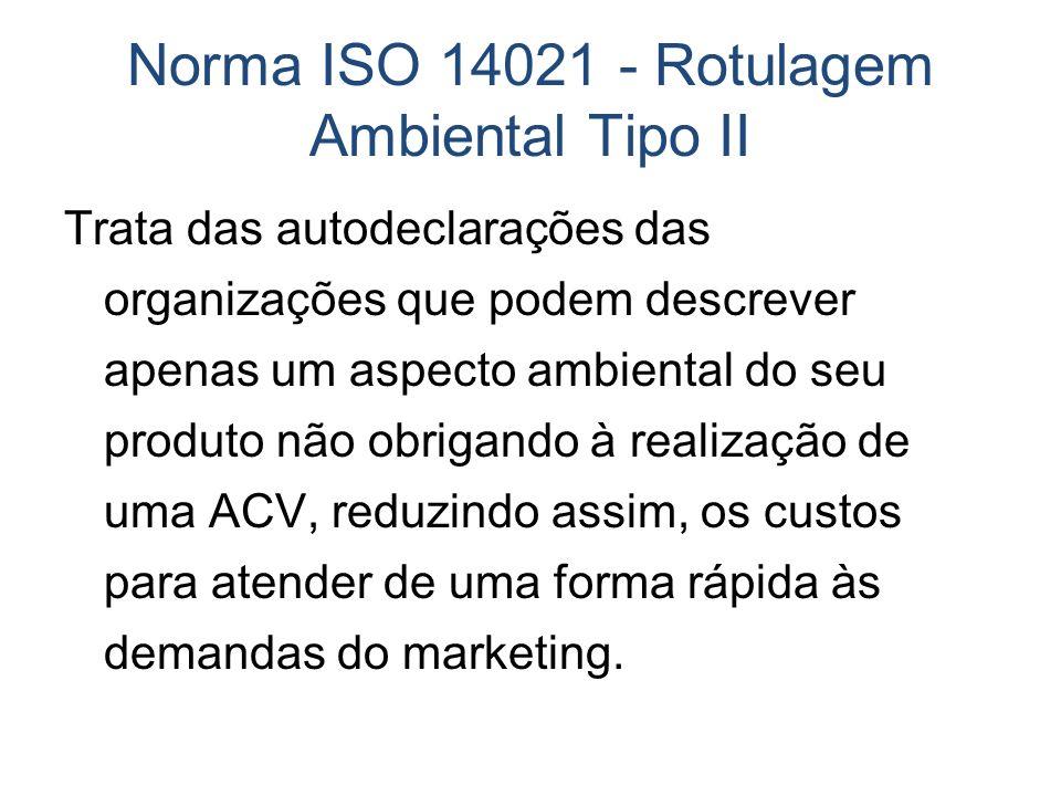 Norma ISO 14021 - Rotulagem Ambiental Tipo II Trata das autodeclarações das organizações que podem descrever apenas um aspecto ambiental do seu produt