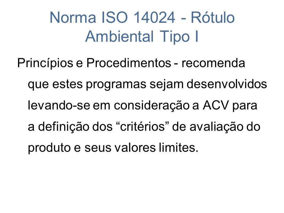 Norma ISO 14024 - Rótulo Ambiental Tipo I Princípios e Procedimentos - recomenda que estes programas sejam desenvolvidos levando-se em consideração a