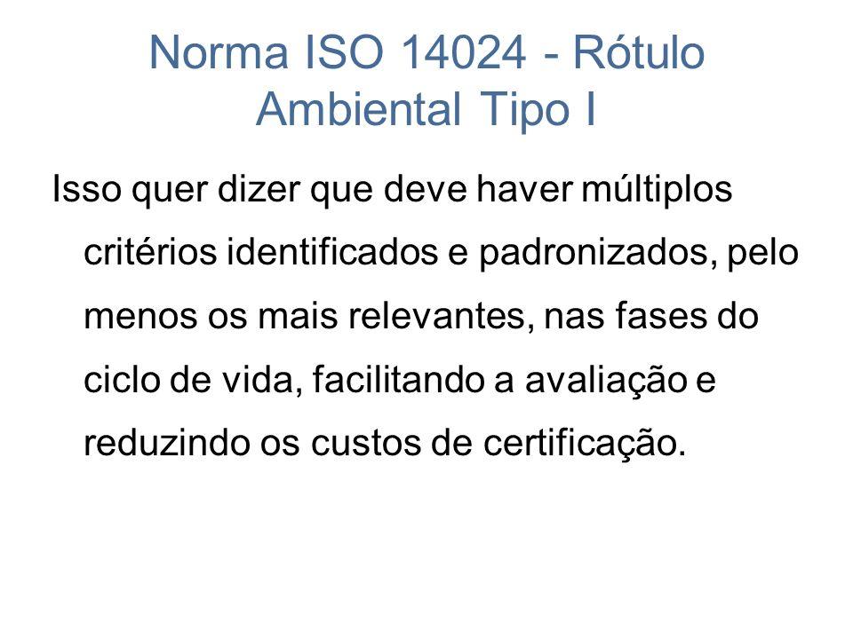 Norma ISO 14024 - Rótulo Ambiental Tipo I Isso quer dizer que deve haver múltiplos critérios identificados e padronizados, pelo menos os mais relevant