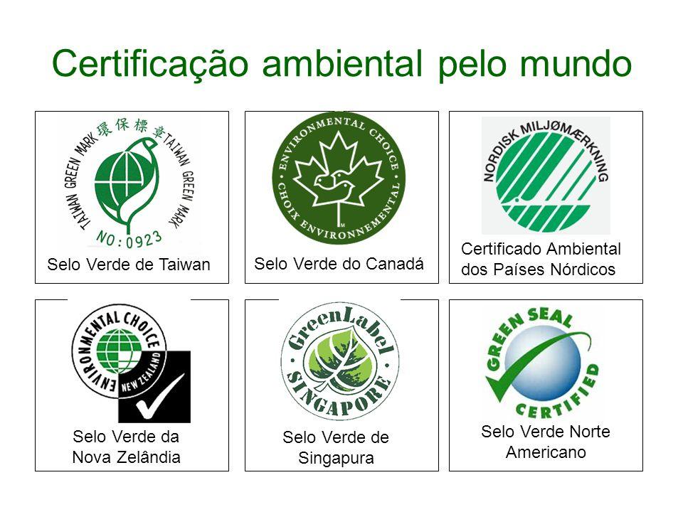 Certificação ambiental pelo mundo Selo Verde Norte Americano Certificado Ambiental dos Países Nórdicos Selo Verde do Canadá Selo Verde de Singapura Se