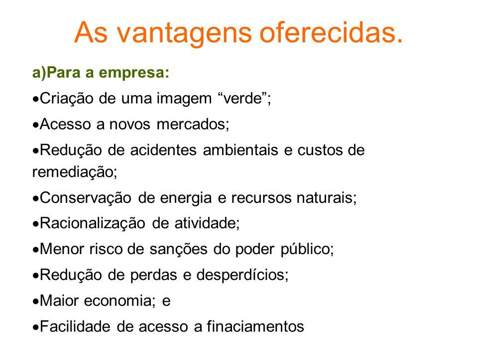 As vantagens oferecidas. a)Para a empresa: Criação de uma imagem verde; Acesso a novos mercados; Redução de acidentes ambientais e custos de remediaçã