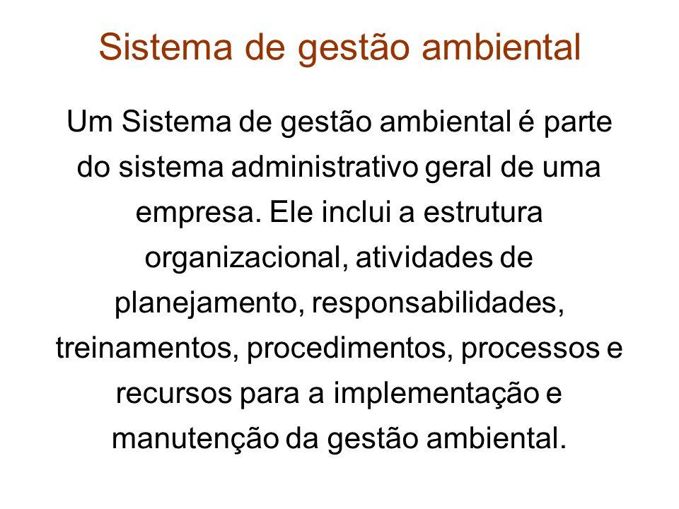 Sistema de gestão ambiental Um Sistema de gestão ambiental é parte do sistema administrativo geral de uma empresa. Ele inclui a estrutura organizacion