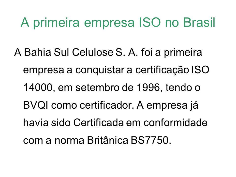 A primeira empresa ISO no Brasil A Bahia Sul Celulose S. A. foi a primeira empresa a conquistar a certificação ISO 14000, em setembro de 1996, tendo o