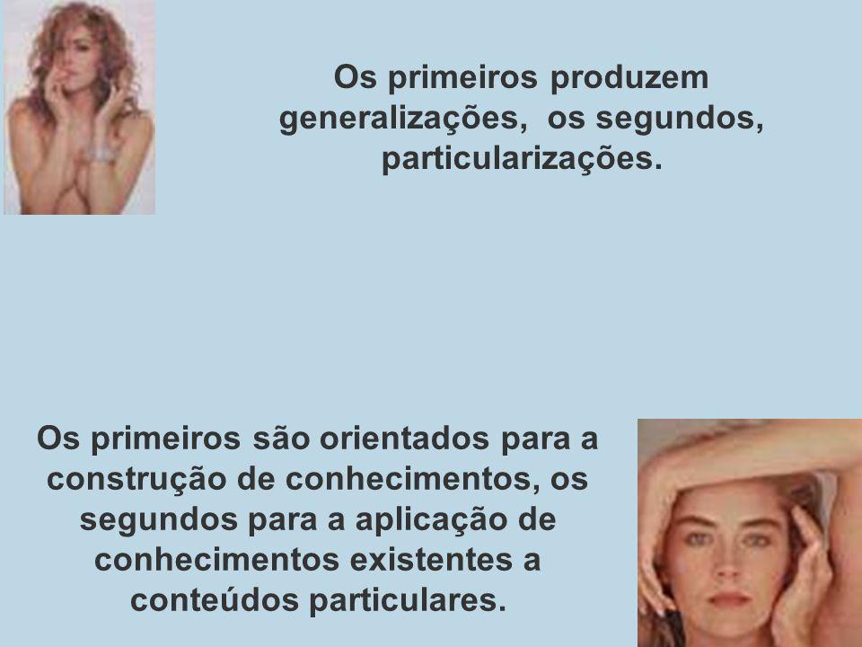 Os primeiros são orientados para a construção de conhecimentos, os segundos para a aplicação de conhecimentos existentes a conteúdos particulares. Os