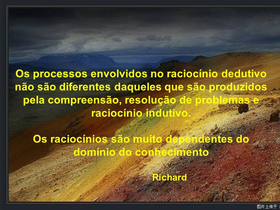 Os processos envolvidos no raciocínio dedutivo não são diferentes daqueles que são produzidos pela compreensão, resolução de problemas e raciocínio in