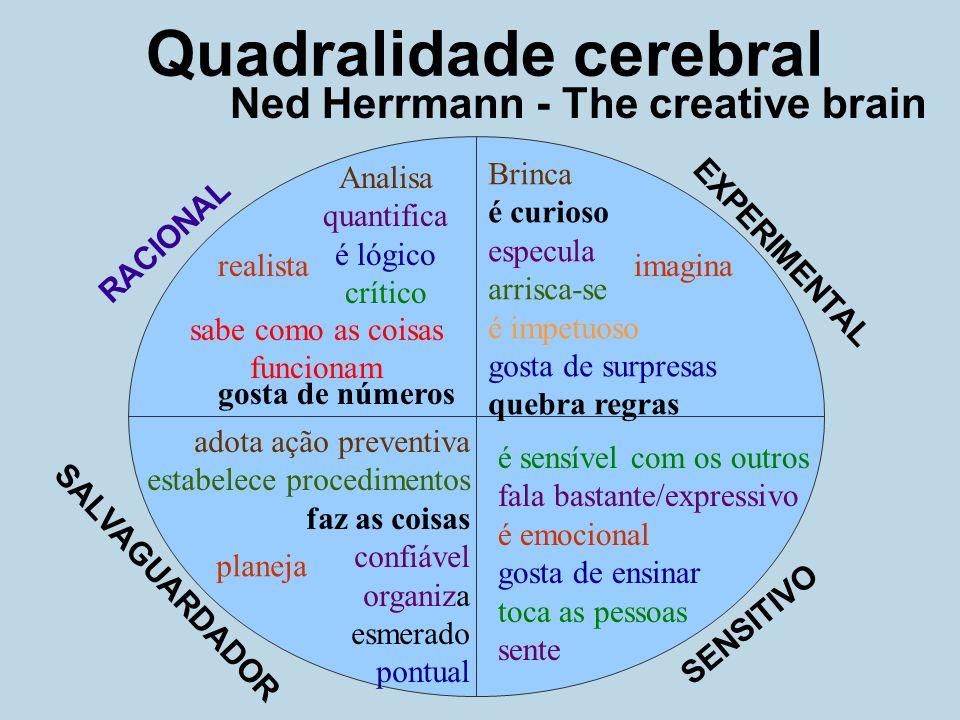 Ned Herrmann - The creative brain Quadralidade cerebral Analisa quantifica é lógico crítico gosta de números realista sabe como as coisas funcionam RA