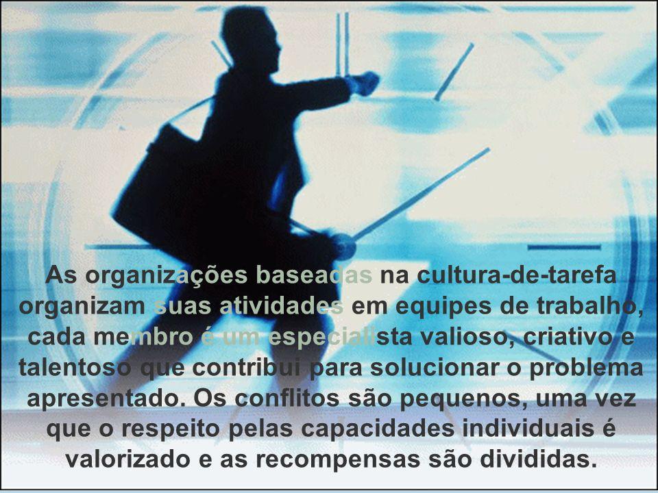 As organizações baseadas na cultura-de-tarefa organizam suas atividades em equipes de trabalho, cada membro é um especialista valioso, criativo e tale