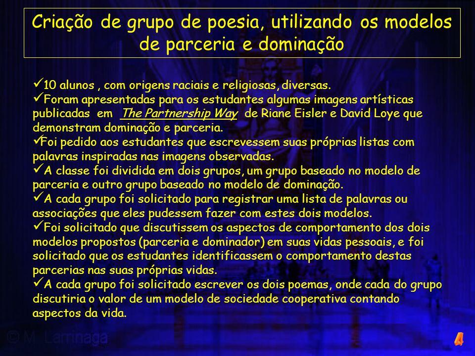Criação de grupo de poesia, utilizando os modelos de parceria e dominação 10 alunos, com origens raciais e religiosas, diversas. Foram apresentadas pa