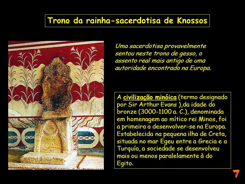 Uma sacerdotisa provavelmente sentou neste trono de gesso, o assento real mais antigo de uma autoridade encontrado na Europa. Trono da rainha-sacerdot