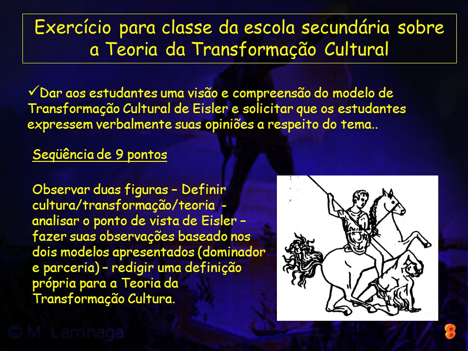 Exercício para classe da escola secundária sobre a Teoria da Transformação Cultural Dar aos estudantes uma visão e compreensão do modelo de Transforma