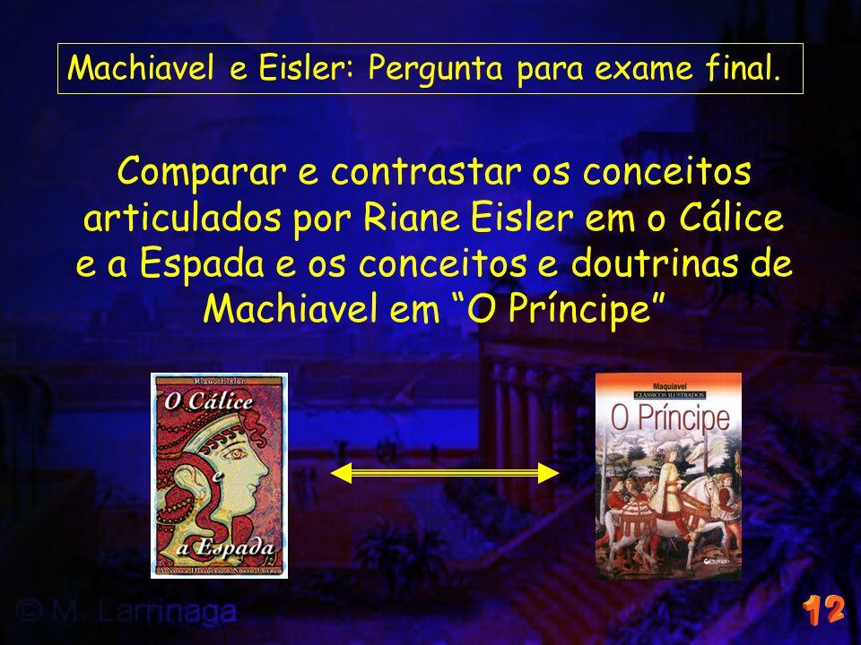 Machiavel e Eisler: Pergunta para exame final. Comparar e contrastar os conceitos articulados por Riane Eisler em o Cálice e a Espada e os conceitos e