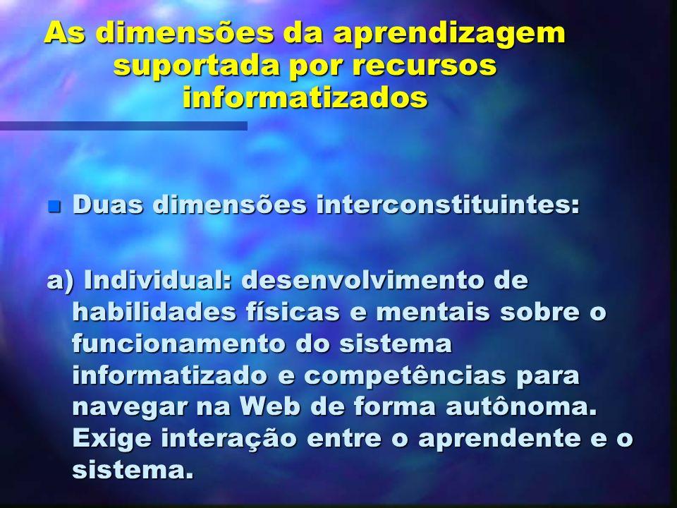As dimensões da aprendizagem suportada por recursos informatizados n O computador e as redes como ferramentas no processo de mediação, o que pode poss