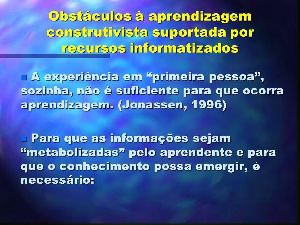 As dimensões da aprendizagem suportada por recursos informatizados A aprendizagem, neste caso estaria intimamente relacionada com a mediatização do si