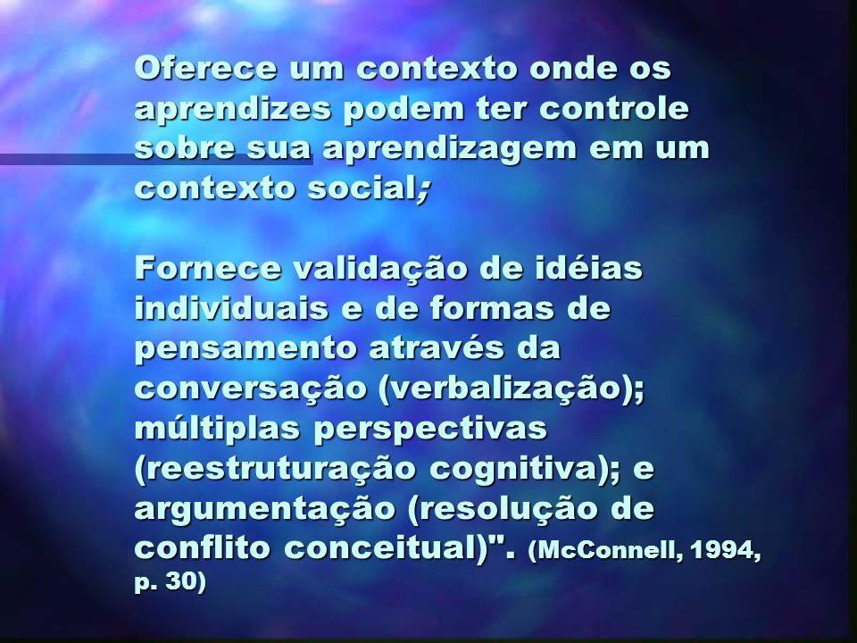 Características da aprendizagem cooperativa (McConnell, 1994) n