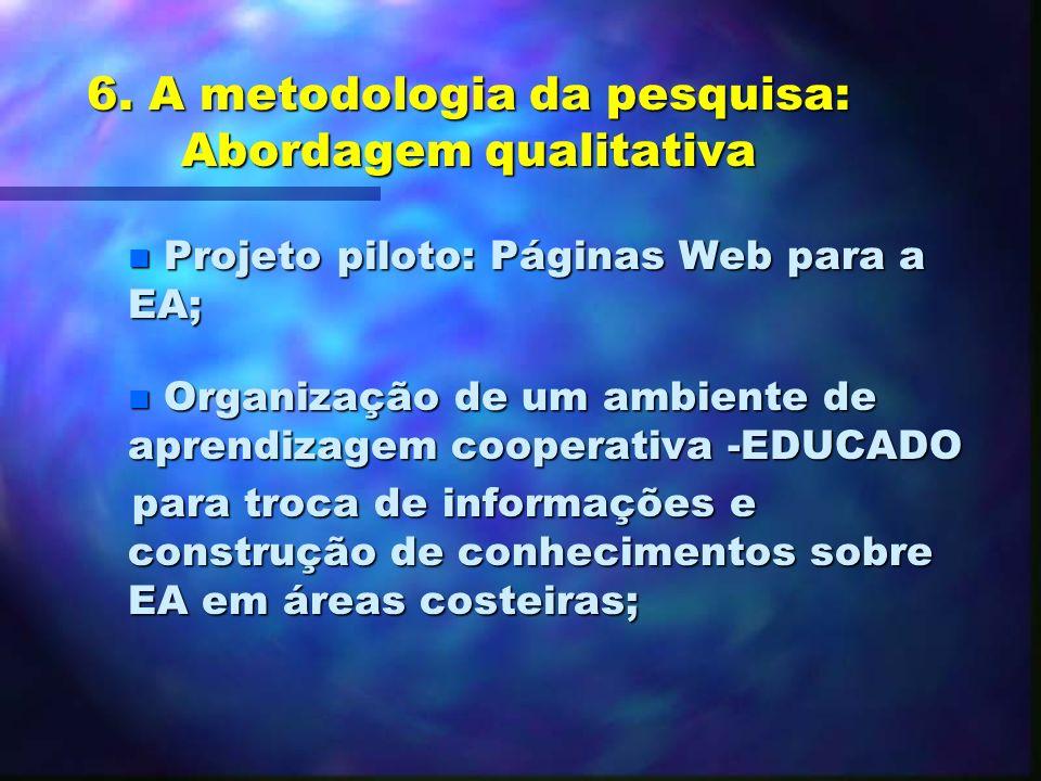 5. A Educação Ambiental e o uso de recursos informatizados Projetos: n Banco de dados: Avaliando a EA no Brasil: materiais impressos (Trajber & Manzoc