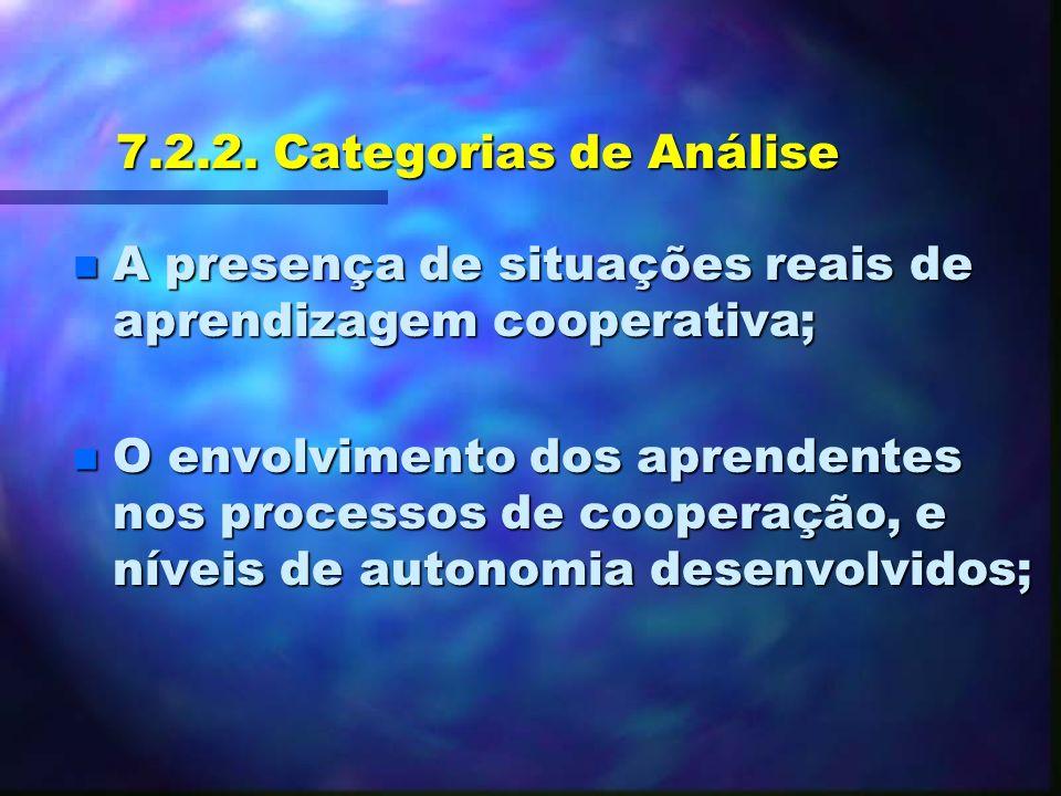 7.2.1. Avaliação do Ambiente EDUCADO n Adaptação de Técnicas de análise de Projetos que tem a aprendizagem cooperativa como base teórica (Ramos (1996)