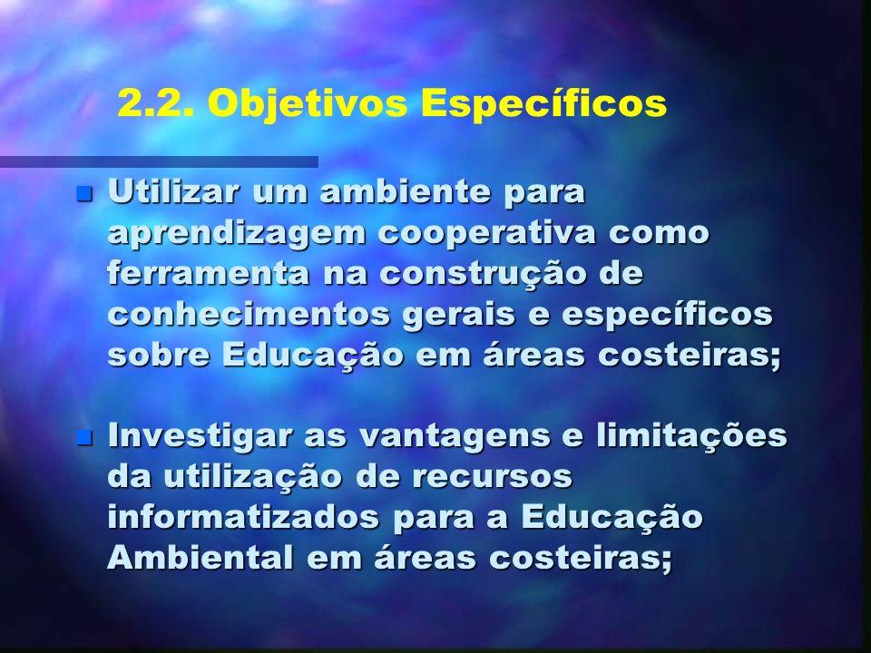 2.1. Objetivos Gerais n Investigar as implicações do uso de recursos informatizados como ferramenta na construção de ambientes de aprendizagem que fav