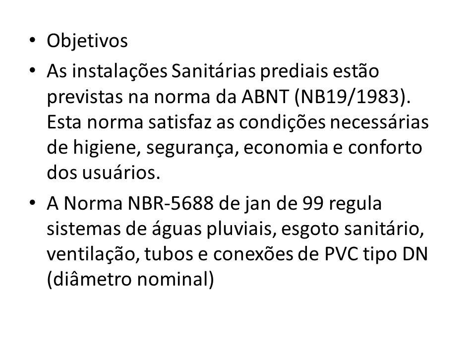 Objetivos As instalações Sanitárias prediais estão previstas na norma da ABNT (NB19/1983). Esta norma satisfaz as condições necessárias de higiene, se