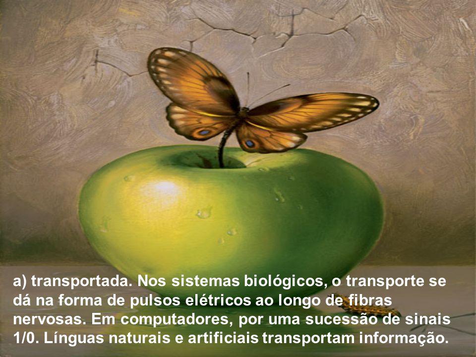a) transportada. Nos sistemas biológicos, o transporte se dá na forma de pulsos elétricos ao longo de fibras nervosas. Em computadores, por uma sucess