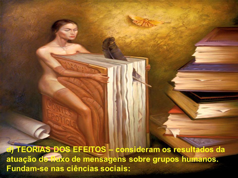 d) TEORIAS DOS EFEITOS – consideram os resultados da atuação do fluxo de mensagens sobre grupos humanos. Fundam-se nas ciências sociais: