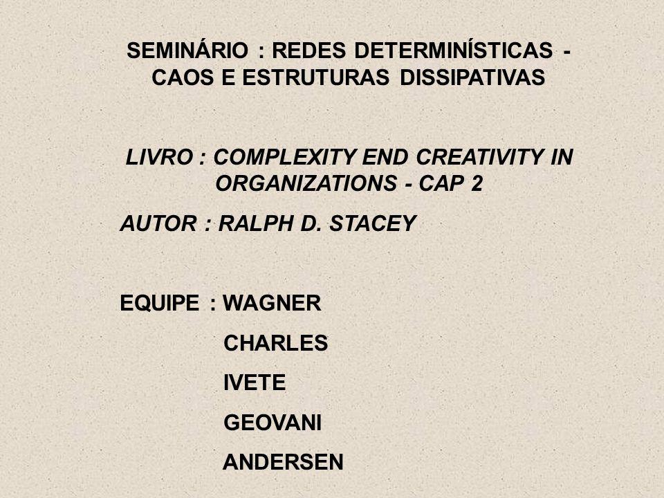 SEMINÁRIO : REDES DETERMINÍSTICAS - CAOS E ESTRUTURAS DISSIPATIVAS LIVRO : COMPLEXITY END CREATIVITY IN ORGANIZATIONS - CAP 2 AUTOR : RALPH D. STACEY