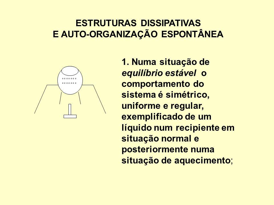 ESTRUTURAS DISSIPATIVAS E AUTO-ORGANIZAÇÃO ESPONTÂNEA 1. Numa situação de equilíbrio estável o comportamento do sistema é simétrico, uniforme e regula