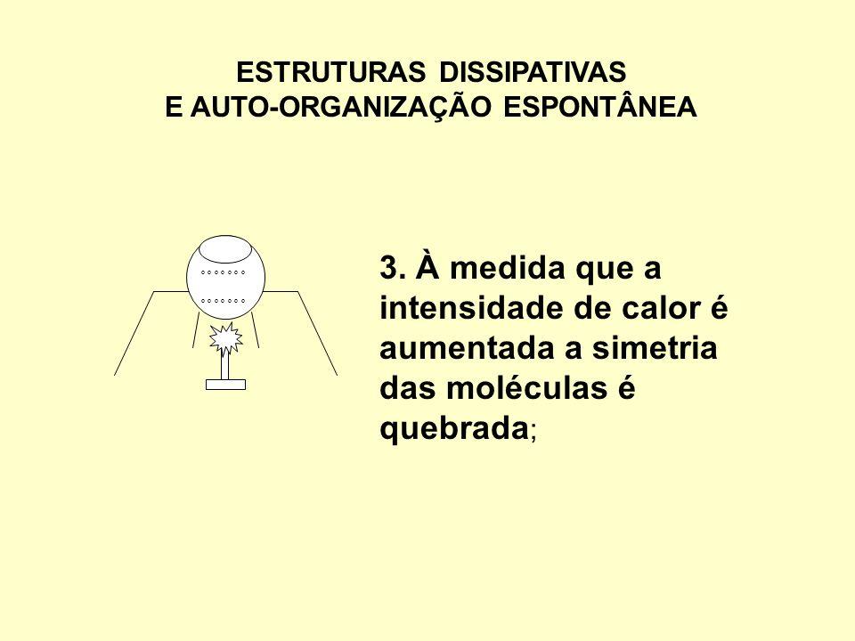 ESTRUTURAS DISSIPATIVAS E AUTO-ORGANIZAÇÃO ESPONTÂNEA 3. À medida que a intensidade de calor é aumentada a simetria das moléculas é quebrada ; º º º º
