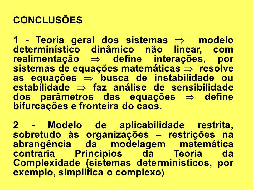 CONCLUSÕES 1 - Teoria geral dos sistemas modelo determinístico dinâmico não linear, com realimentação define interações, por sistemas de equações mate