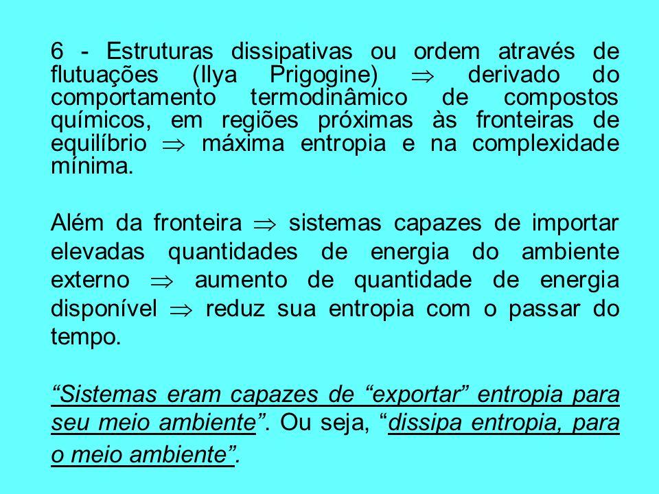 6 - Estruturas dissipativas ou ordem através de flutuações (Ilya Prigogine) derivado do comportamento termodinâmico de compostos químicos, em regiões