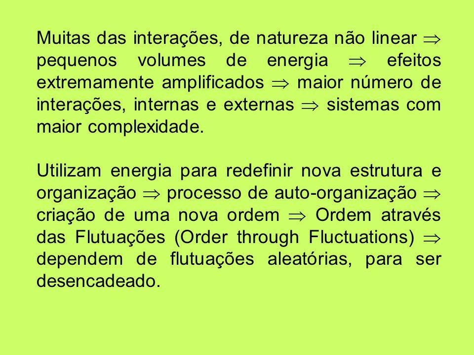 Muitas das interações, de natureza não linear pequenos volumes de energia efeitos extremamente amplificados maior número de interações, internas e ext