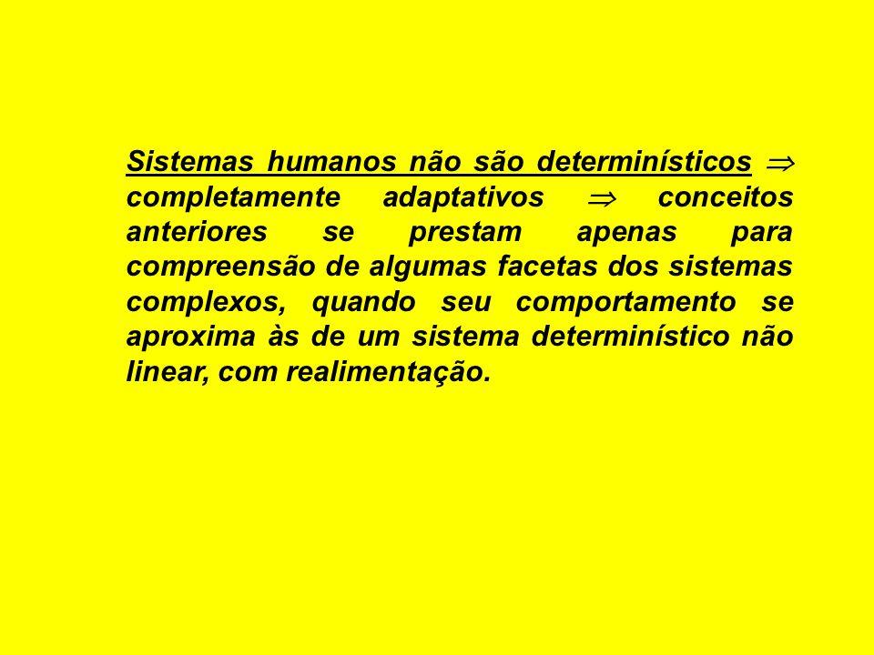 Sistemas humanos não são determinísticos completamente adaptativos conceitos anteriores se prestam apenas para compreensão de algumas facetas dos sist
