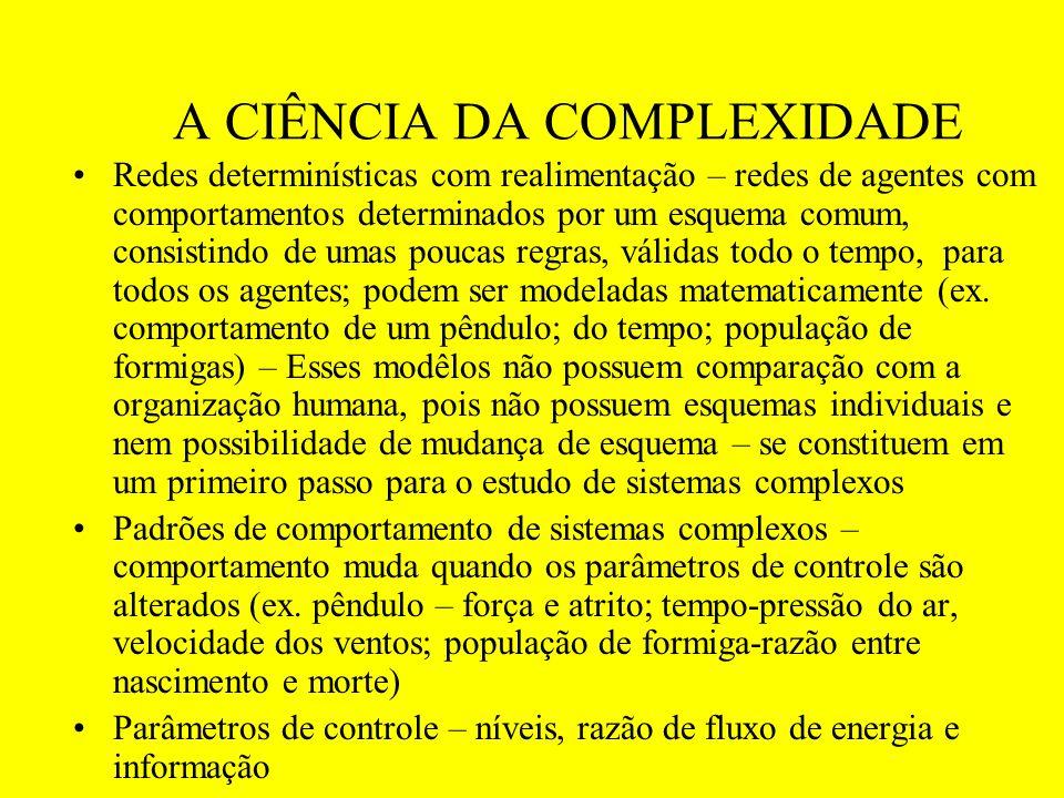 A CIÊNCIA DA COMPLEXIDADE Redes determinísticas com realimentação – redes de agentes com comportamentos determinados por um esquema comum, consistindo