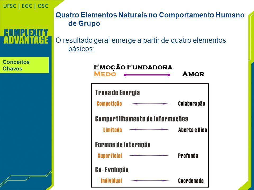 Conceitos Chaves Quatro Elementos Naturais no Comportamento Humano de Grupo O resultado geral emerge a partir de quatro elementos básicos: Emoção Fund