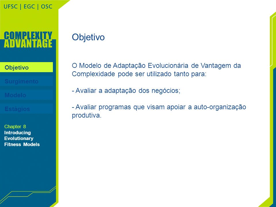 Objetivo O Modelo de Adaptação Evolucionária de Vantagem da Complexidade pode ser utilizado tanto para: - Avaliar a adaptação dos negócios; - Avaliar