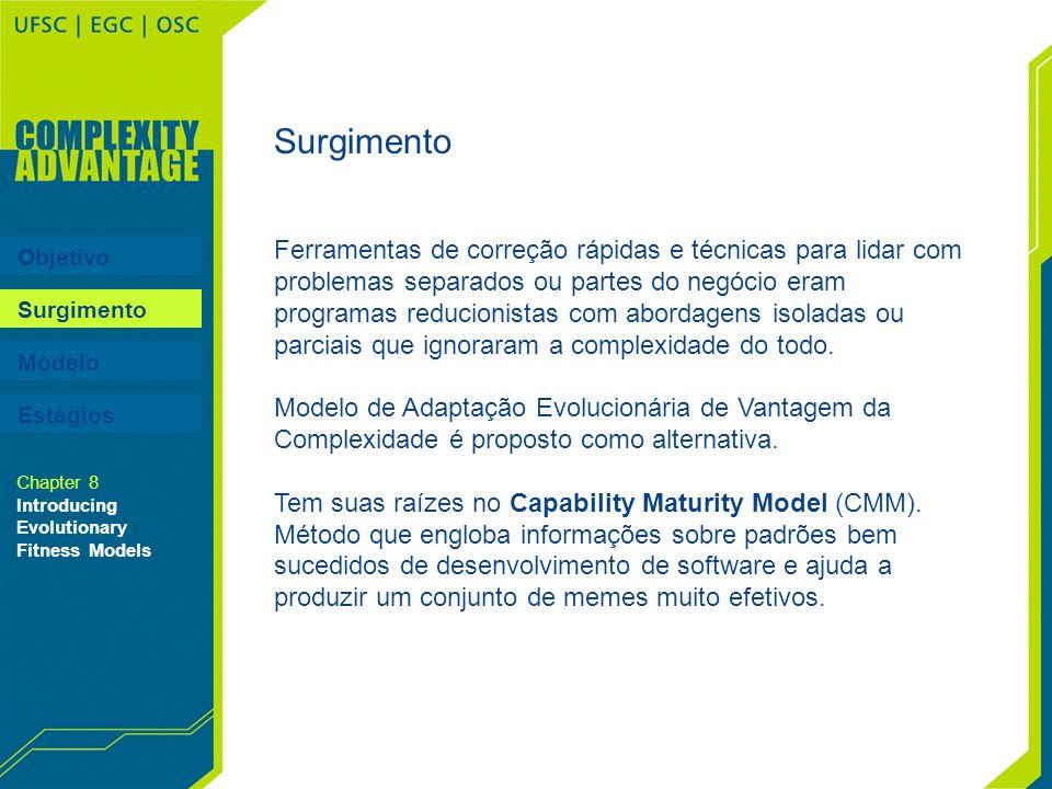 Objetivo Surgimento Modelo Surgimento Ferramentas de correção rápidas e técnicas para lidar com problemas separados ou partes do negócio eram programa