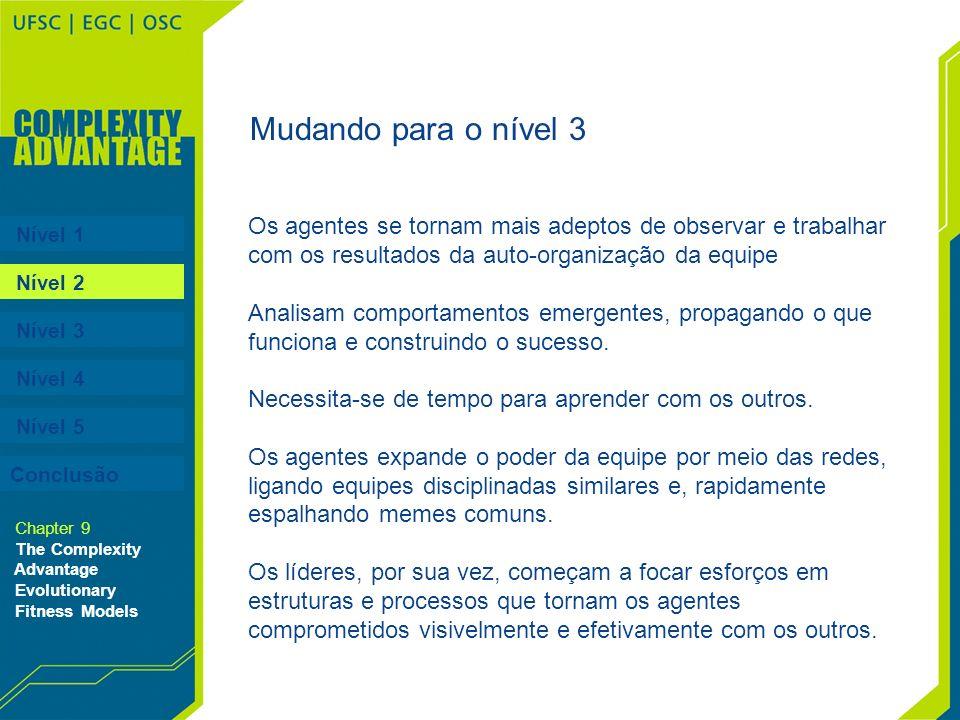 Nível 1 Nível 2 Nível 3 Nível 4 Nível 5 Chapter 9 The Complexity Advantage Evolutionary Fitness Models Os agentes se tornam mais adeptos de observar e