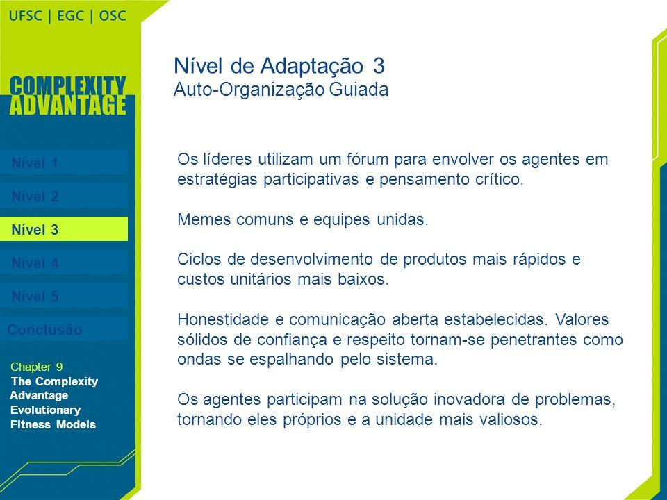 Nível 1 Nível 2 Nível 3 Nível 4 Nível 5 Chapter 9 The Complexity Advantage Evolutionary Fitness Models Nível de Adaptação 3 Auto-Organização Guiada Os